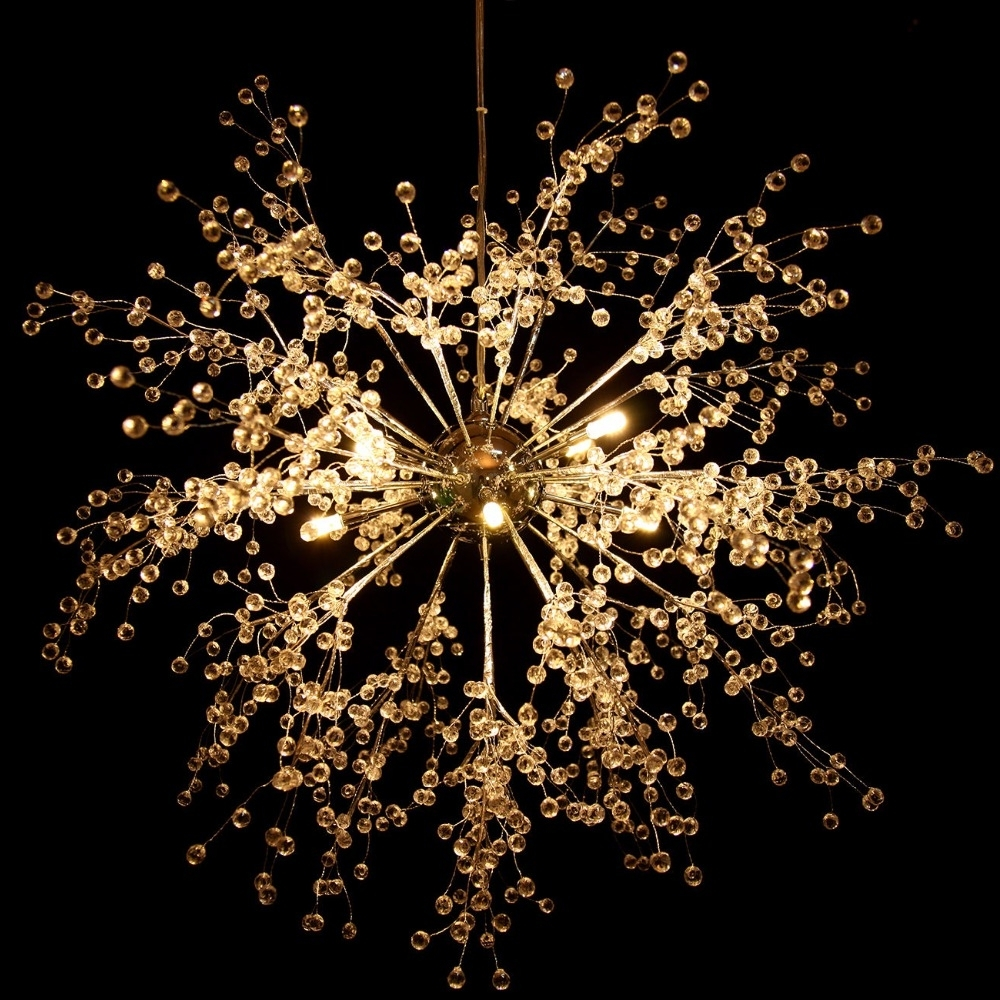 Well Known Chandelier For Restaurant Intended For Us Shipping! Modern Dandelion Led Chandelier Fireworks Pendant Lamp (View 19 of 20)