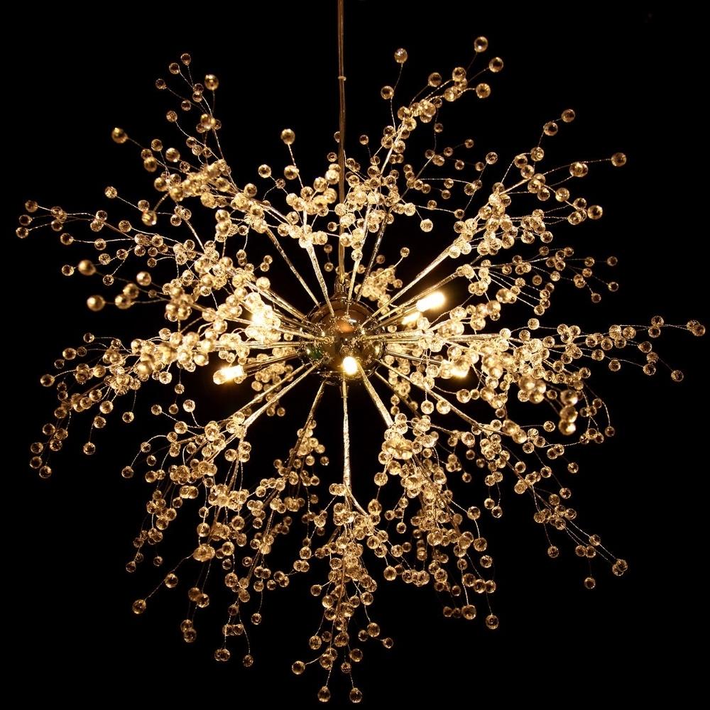 Well Known Chandelier For Restaurant Intended For Us Shipping! Modern Dandelion Led Chandelier Fireworks Pendant Lamp (View 19 of 20)