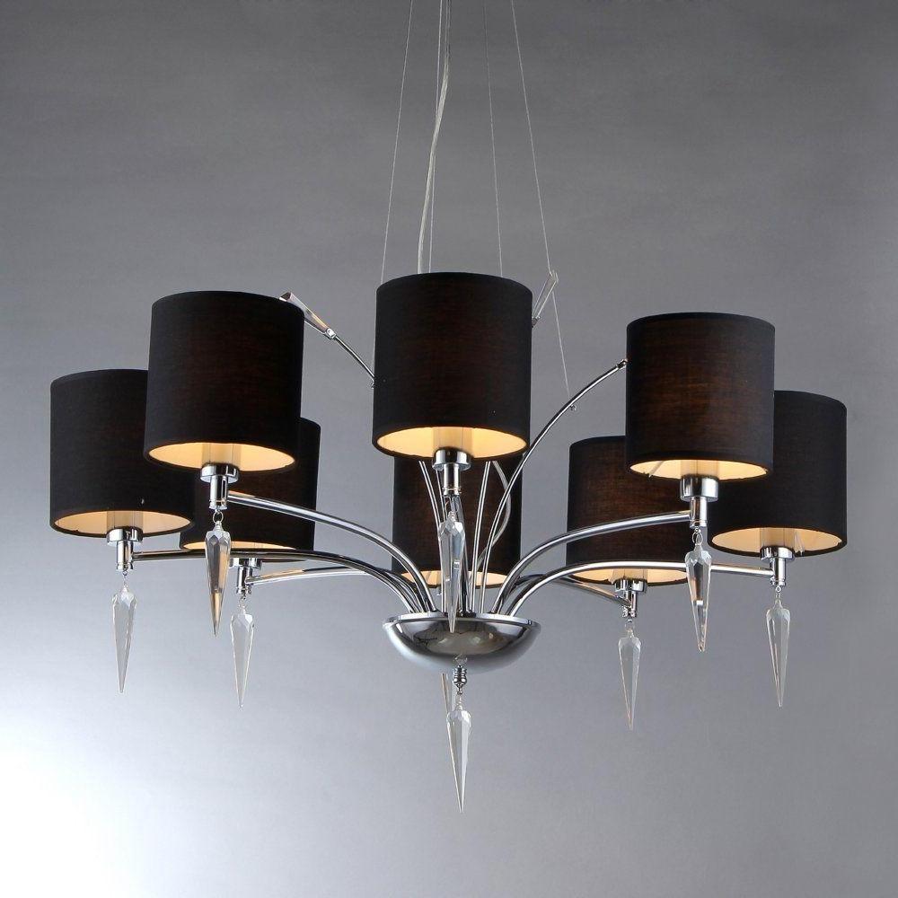 Well Known Chandeliers With Black Shades In Warehouse Of Tiffany Branch 8 Light Chrome Chandelier With Black (View 18 of 20)
