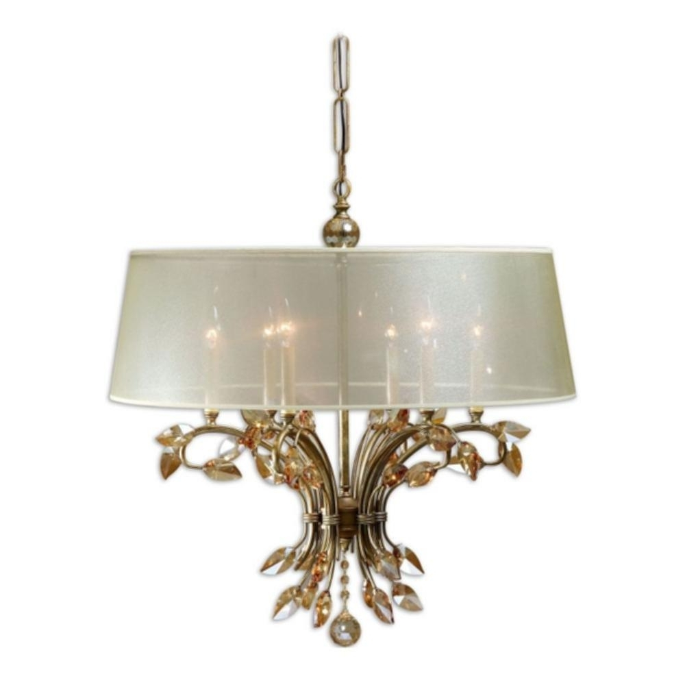 Well Known Cream Gold Chandelier Regarding Gold Chandelier With Shades (View 20 of 20)