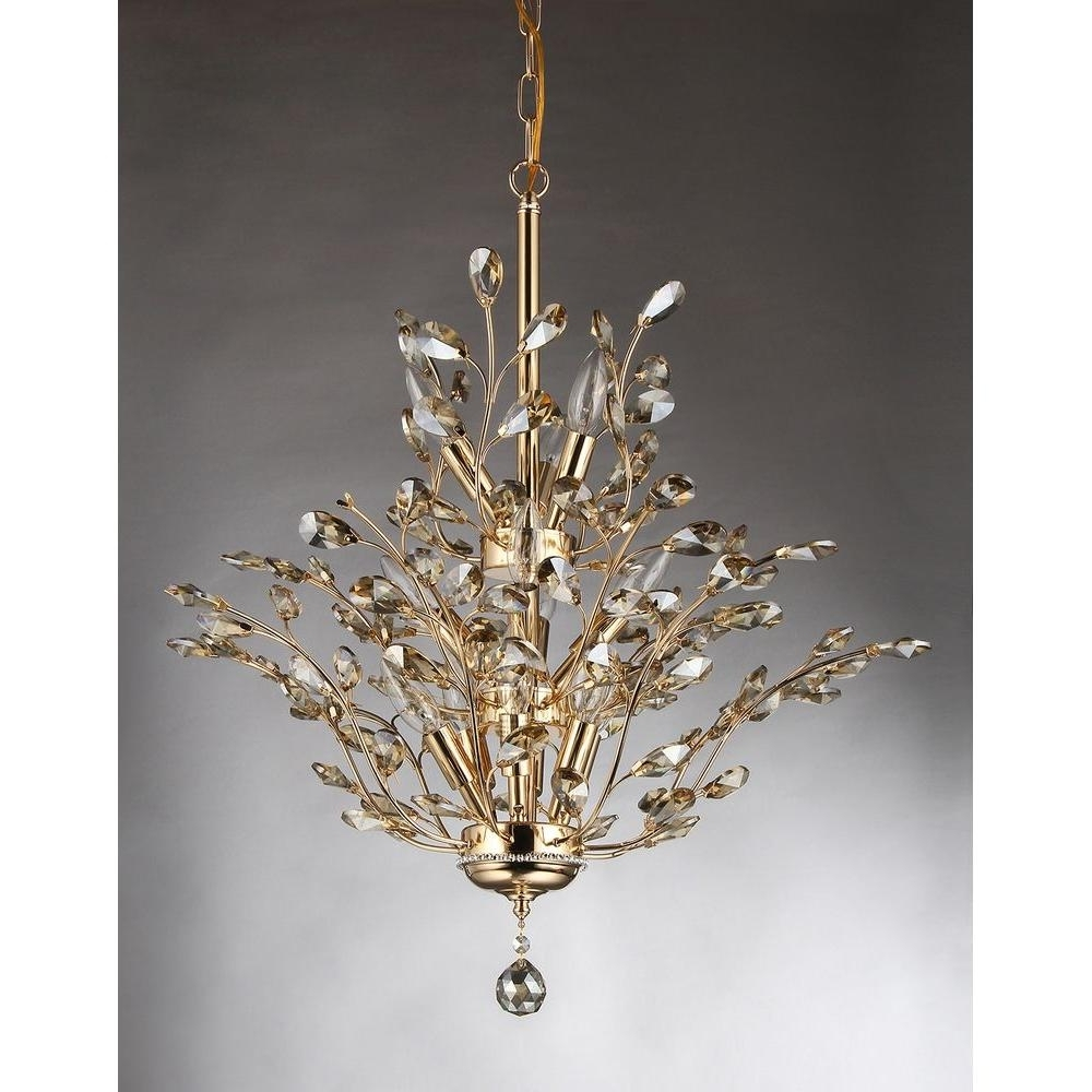 Well Known Crystal Gold Chandeliers Throughout Gisell 13 Light Gold Indoor Leaf Like Crystal Chandelier With Shade (View 17 of 20)