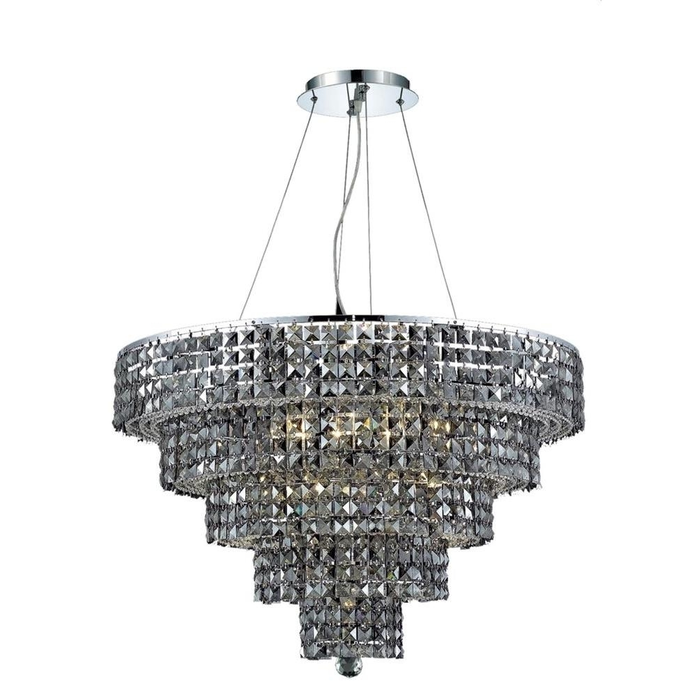Well Known Elegant Lighting 17 Light Chrome Chandelier With Silver Shade Grey Inside Grey Crystal Chandelier (View 10 of 20)