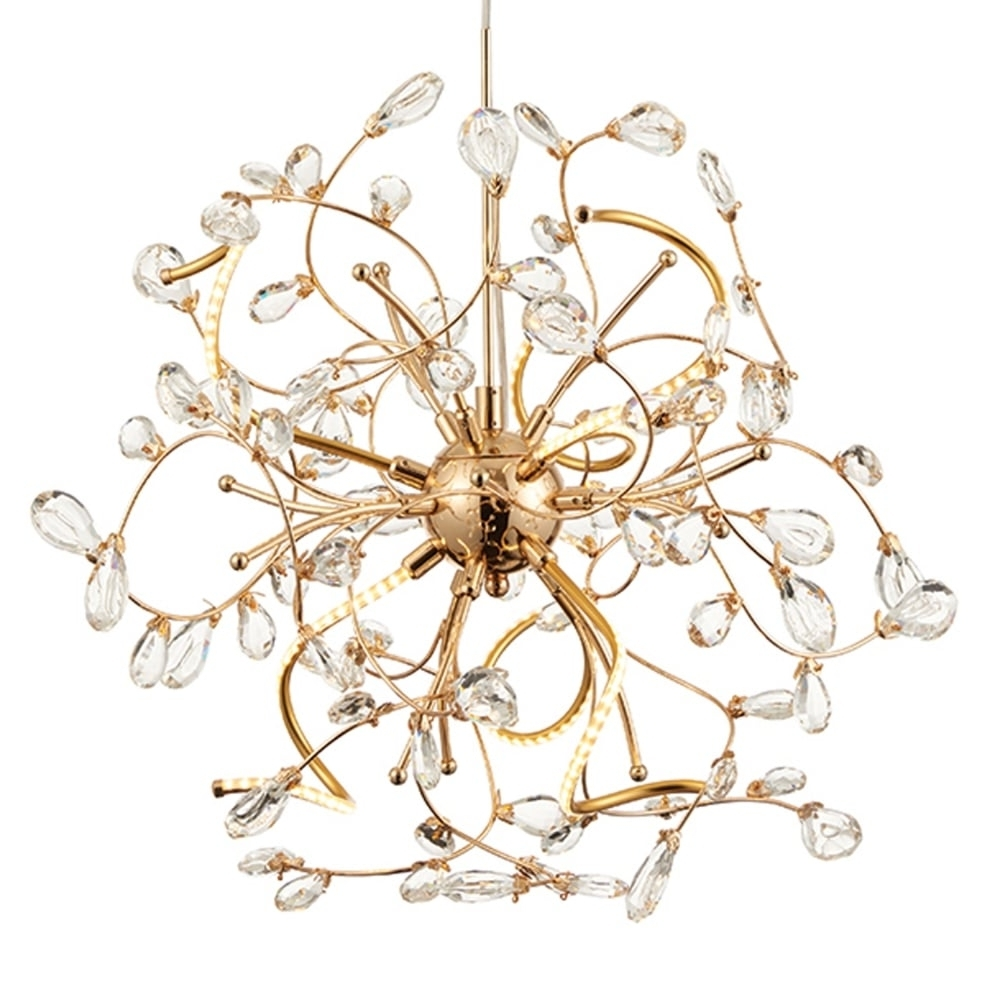 Well Known Endon 68889 Willa 6 Light Gold And Crystal Led Pendant Light Intended For Endon Lighting Chandeliers (View 20 of 20)