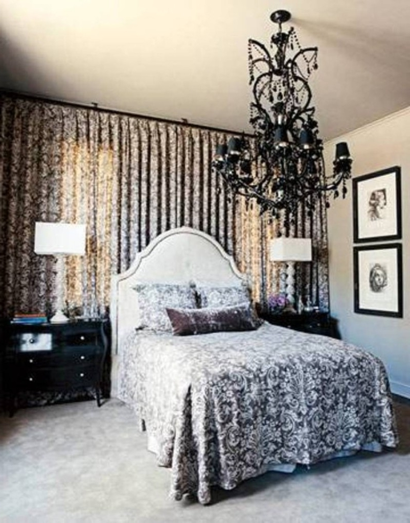 Well Known Excellent Black Crystal Chandelier Lighting For Traditional Bedroom In Black Chandelier Bedroom (View 20 of 20)