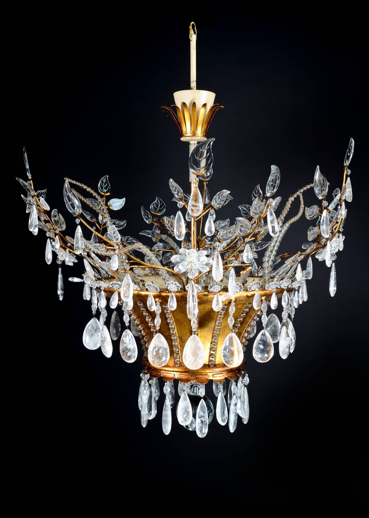 Well Known French Glass Chandelier Pertaining To Magnificent Antique French Louis Xvi Style Bagues Rock Crystal (View 17 of 20)