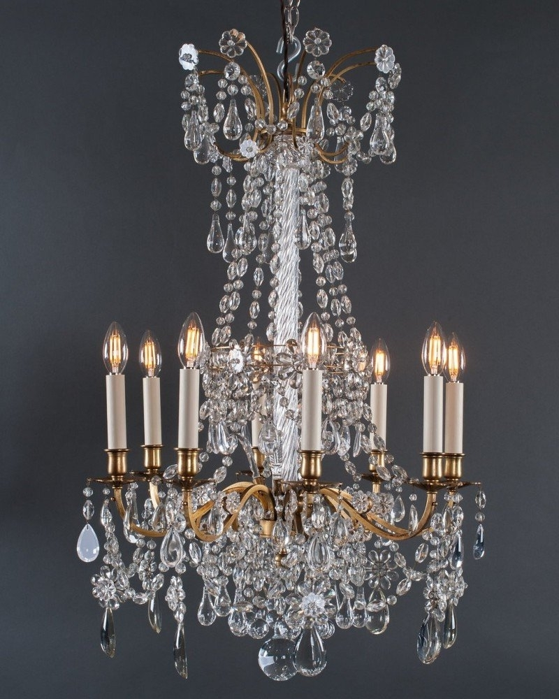Well Known Gilt French Crystal Chandeliers (Pair), Antique Lighting Regarding French Crystal Chandeliers (View 19 of 20)