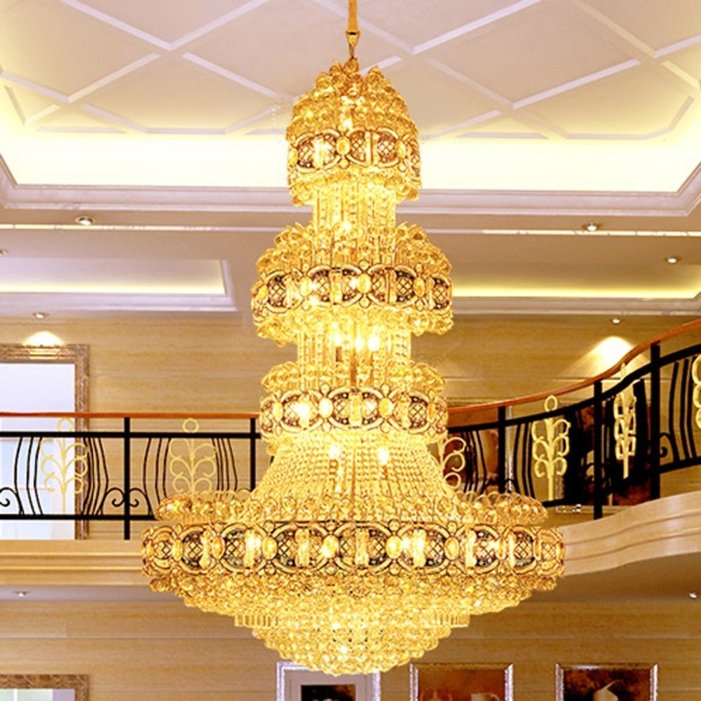 Well Known Hotel Chandelier In Led Crystal Chandeliers Lighting Fixture Gold Crystal Chandelier Big (View 14 of 20)