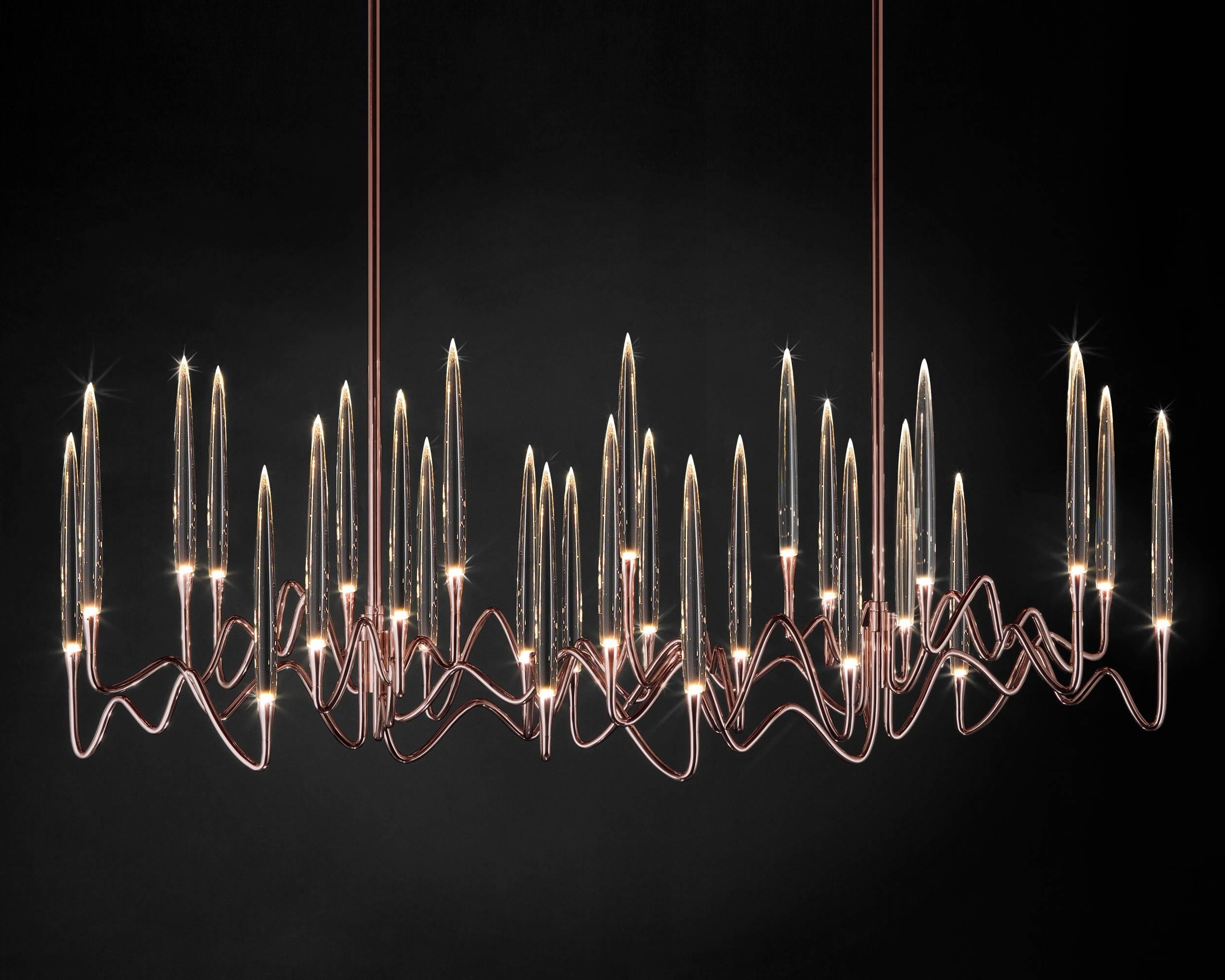 """Well Known Il Pezzo 3 Long Chandelier"""" Made In Italy Led Lamp Made Of Brass And In Long Chandelier Lighting (View 14 of 20)"""