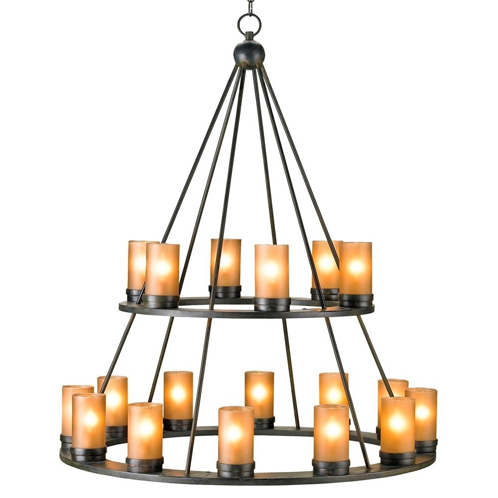 Well Known Iron Chandelier With Regard To Black Wrought Iron Rustic Lodge Tiered 18 Light Candle Chandelier (View 17 of 20)