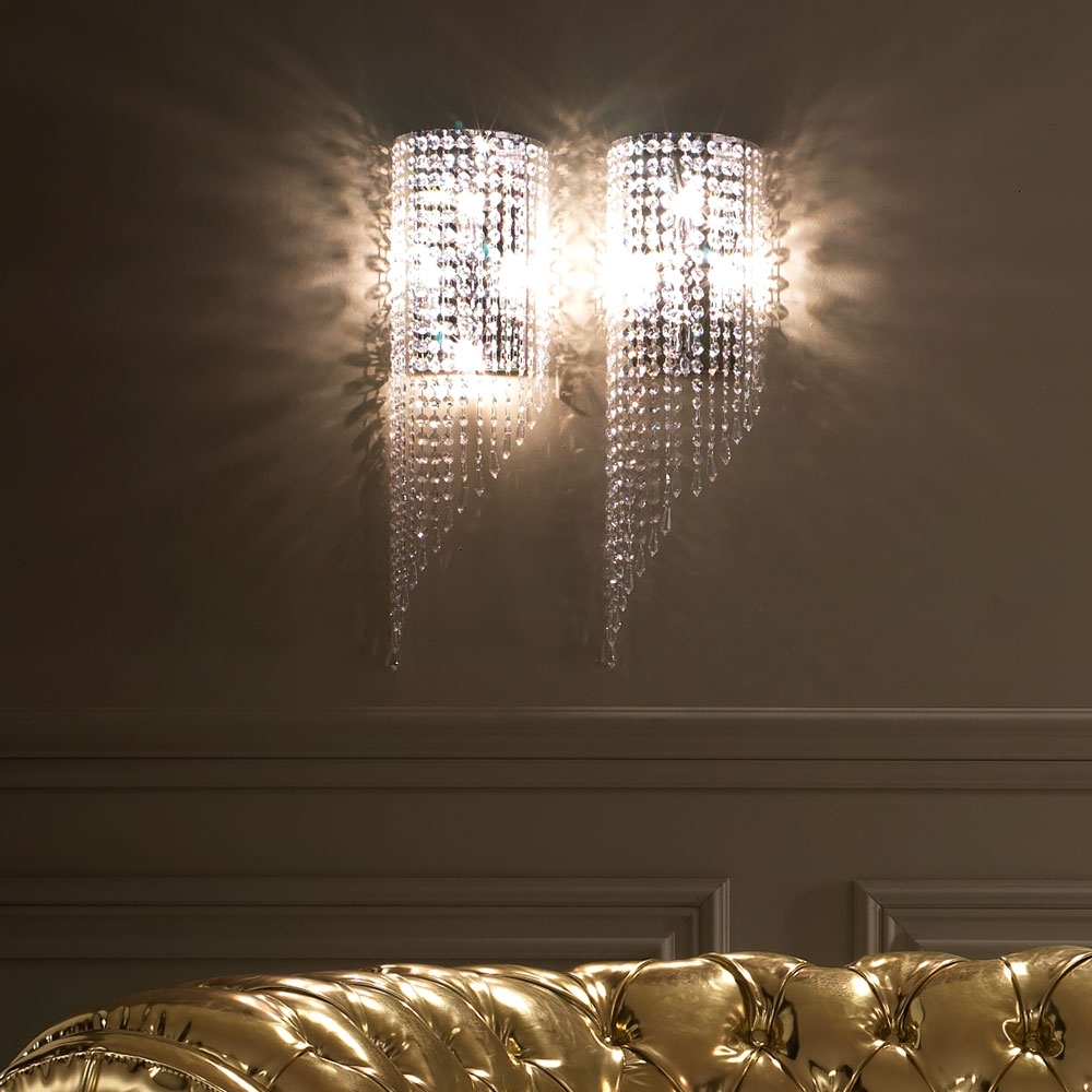 Well Known Italian Designer Crystal Drop Wall Light (View 10 of 20)