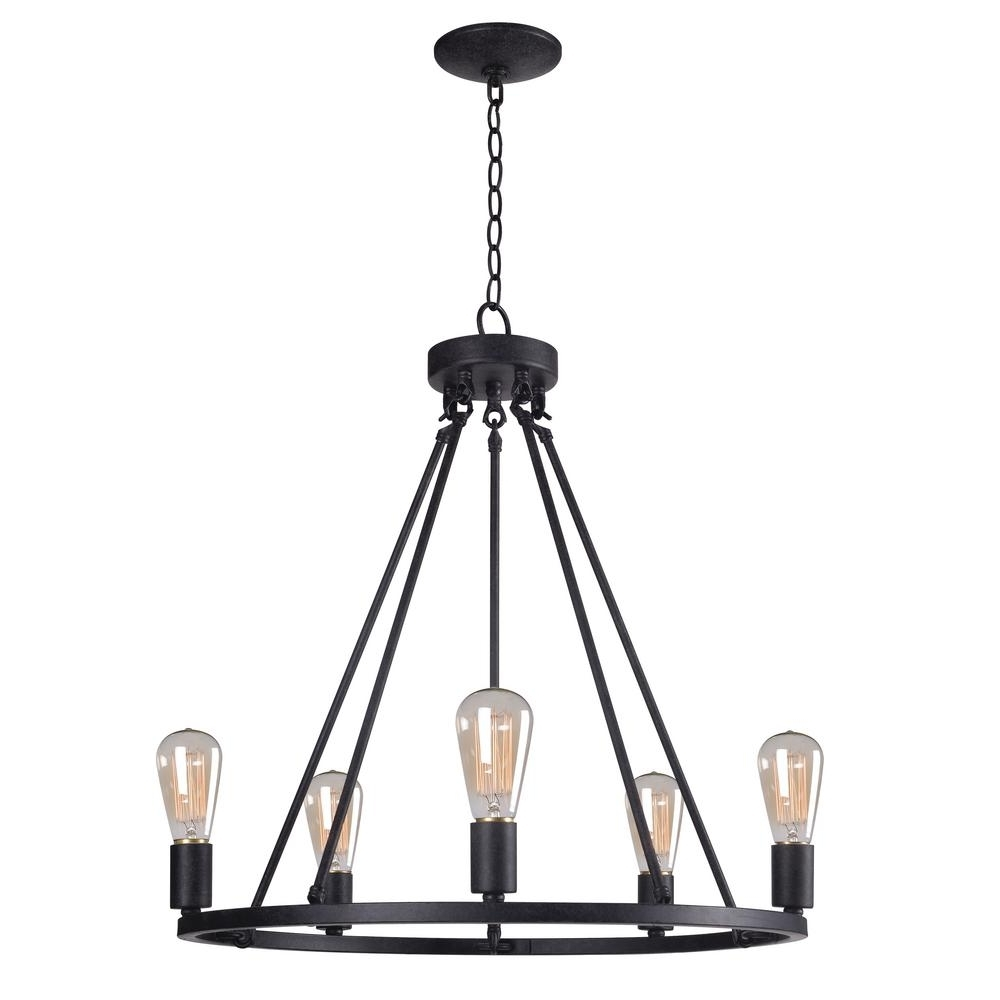 Well Known Kenroy Home Hixon 5 Light Graphite Chandelier 93565fgrph – The Home Pertaining To Leather Chandeliers (View 16 of 20)