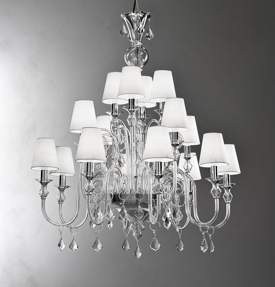 Well Known Lampshades For Chandeliers Inside Modern Murano Chandelier L16K Clear Glass – Murano Lighting (View 17 of 20)