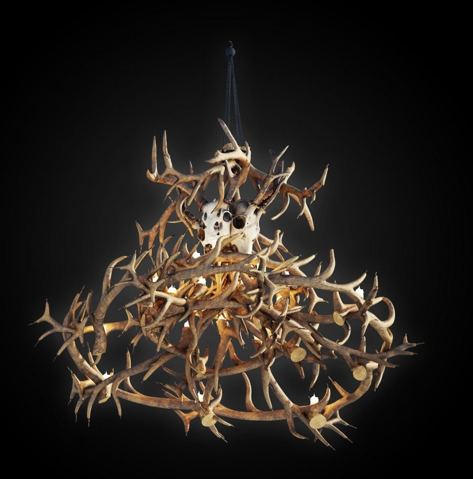 Well Known Large Antler Chandelier Throughout Chandeliers : Antler Chandelier Kit Unique White Rustic Chandelier (View 15 of 20)
