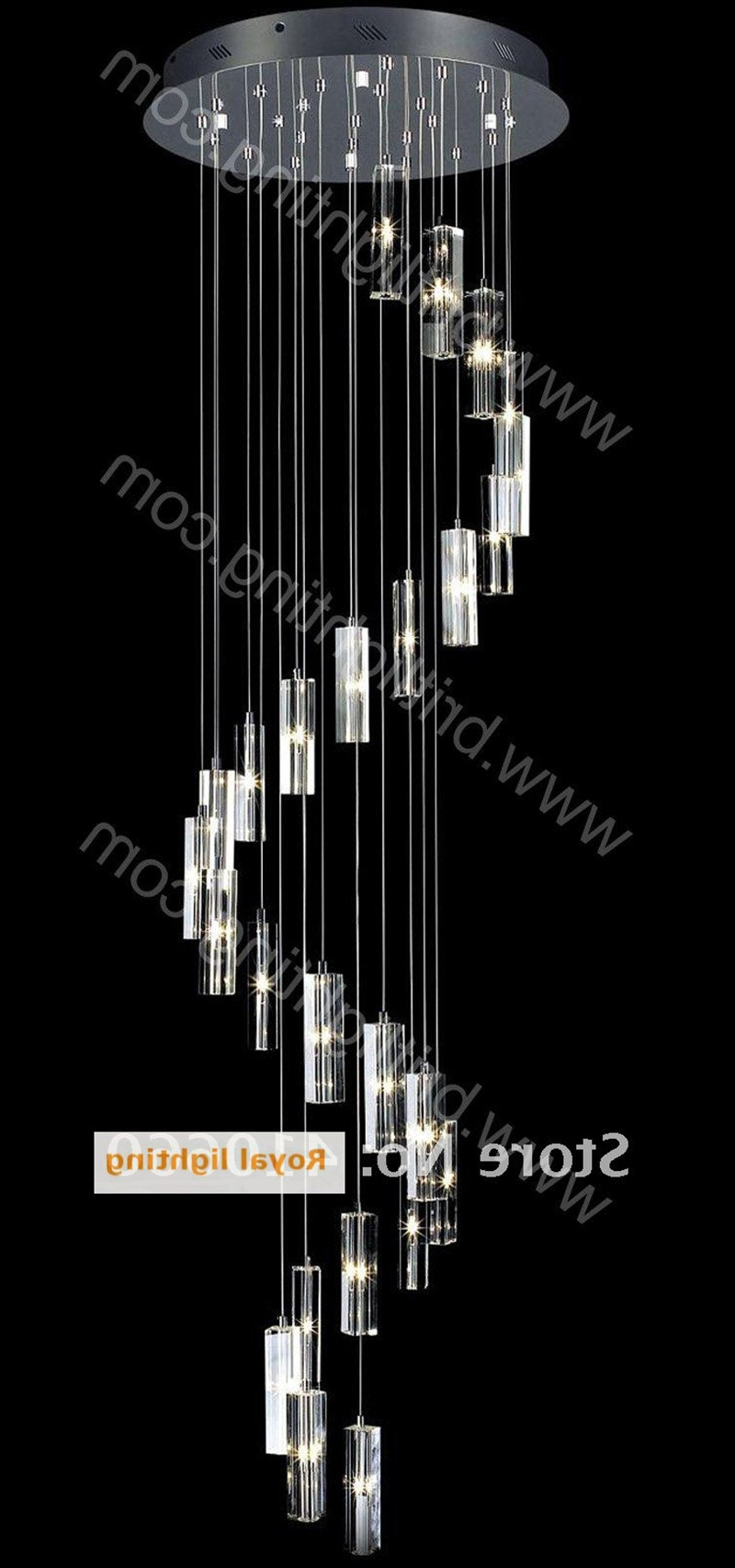 Well Known Long Stair Lighting Pendant Crystal Chandelier Lamp Large Round Led Regarding Long Chandelier (View 7 of 20)