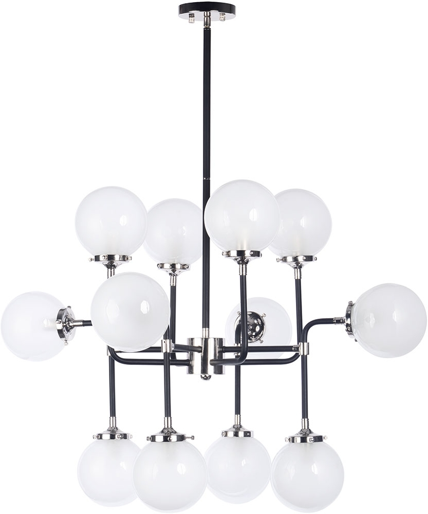 Well Known Maxim 24727Wtbkpn Atom Modern Black / Polished Nickel Chandelier Intended For Atom Chandeliers (View 19 of 20)