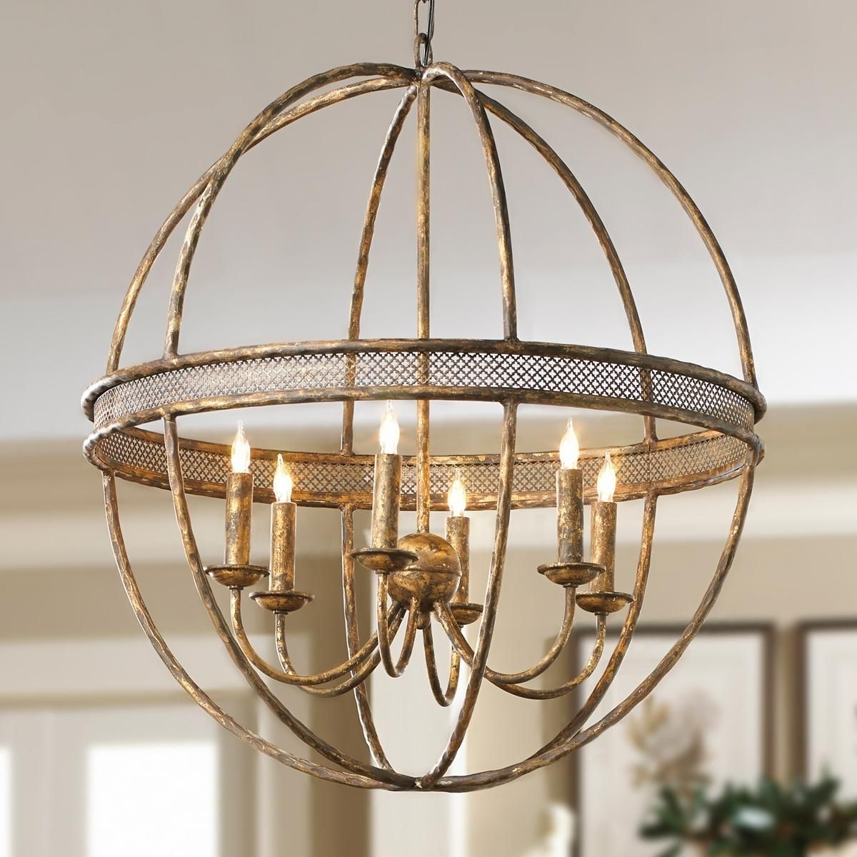 Well Known Metal Sphere Chandelier With Lattice Banded Sphere Chandelier Aged Golden Lattice Adds The Regal (View 6 of 20)