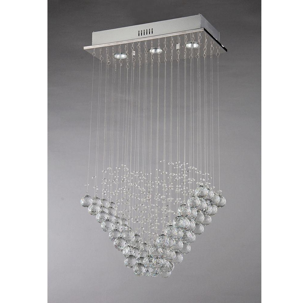 Well Known Modern Chandelier In Warehouse Of Tiffany Amanda Modern 3 Light Chrome Chandelier With (View 19 of 20)