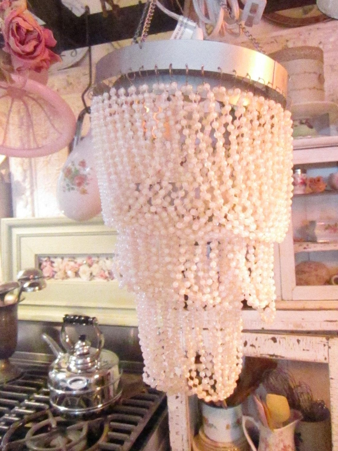 Well Known Ornate Chandeliers With Shabby Chic Pair Beaded Pearls Ornate Chandeliers Shabby Chic (View 14 of 20)