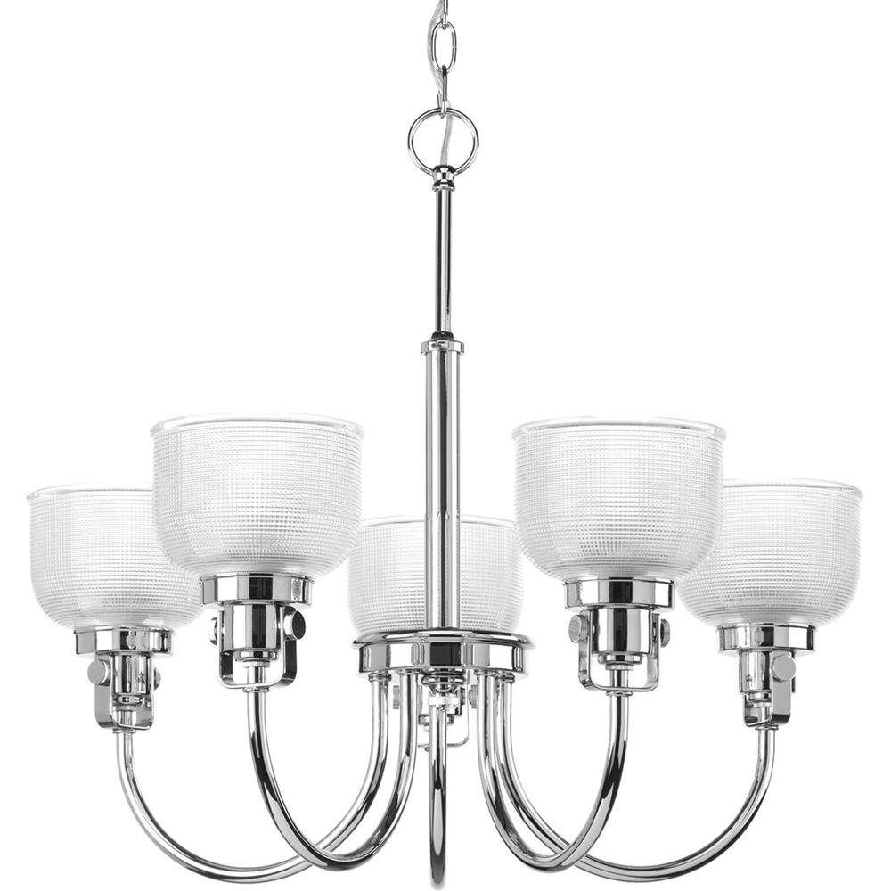 Well Known Progress Lighting Archie Collection 5 Light Chrome Chandelier With Throughout Chrome And Glass Chandelier (View 11 of 20)