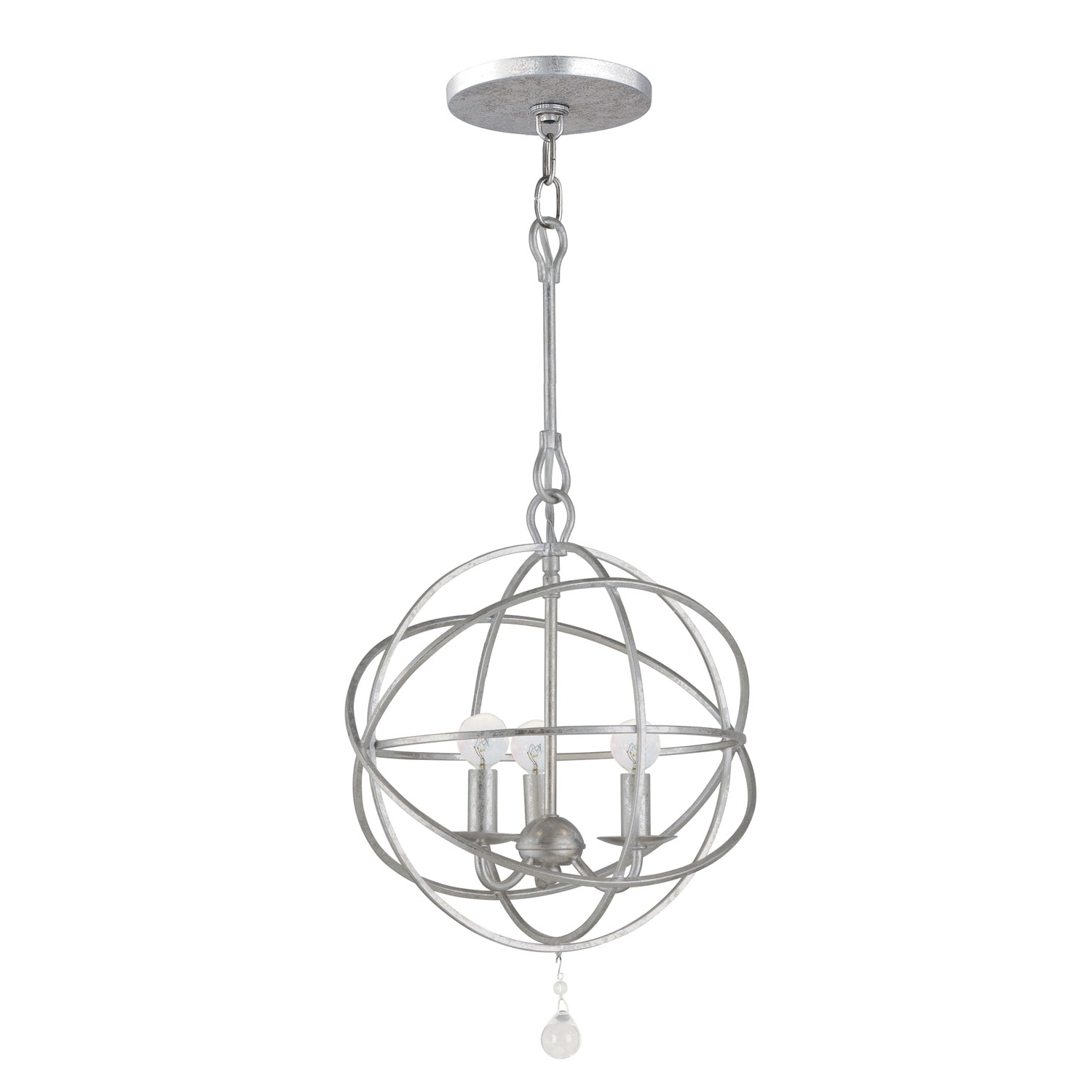Well Known Silver Chandeliers Pertaining To Crystorama Lighting Group Solaris Olde Silver Three Light Chandelier (View 18 of 20)