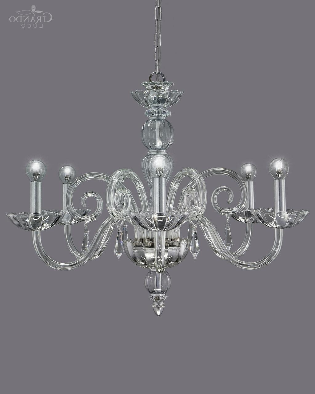 Well Known Silver Chandeliers Throughout 122/ch 6 Silver Leaf Crystal Chandelier With Swarovski Spectra (View 20 of 20)