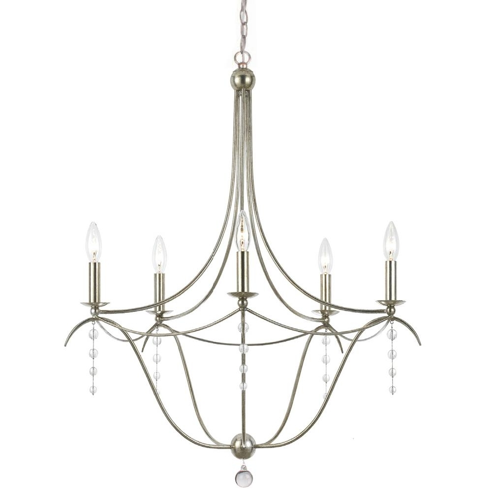 Well Known Silver Chandeliers Within 5 Light Antique Silver Chandelier 435 Sa – The Home Depot (View 19 of 20)