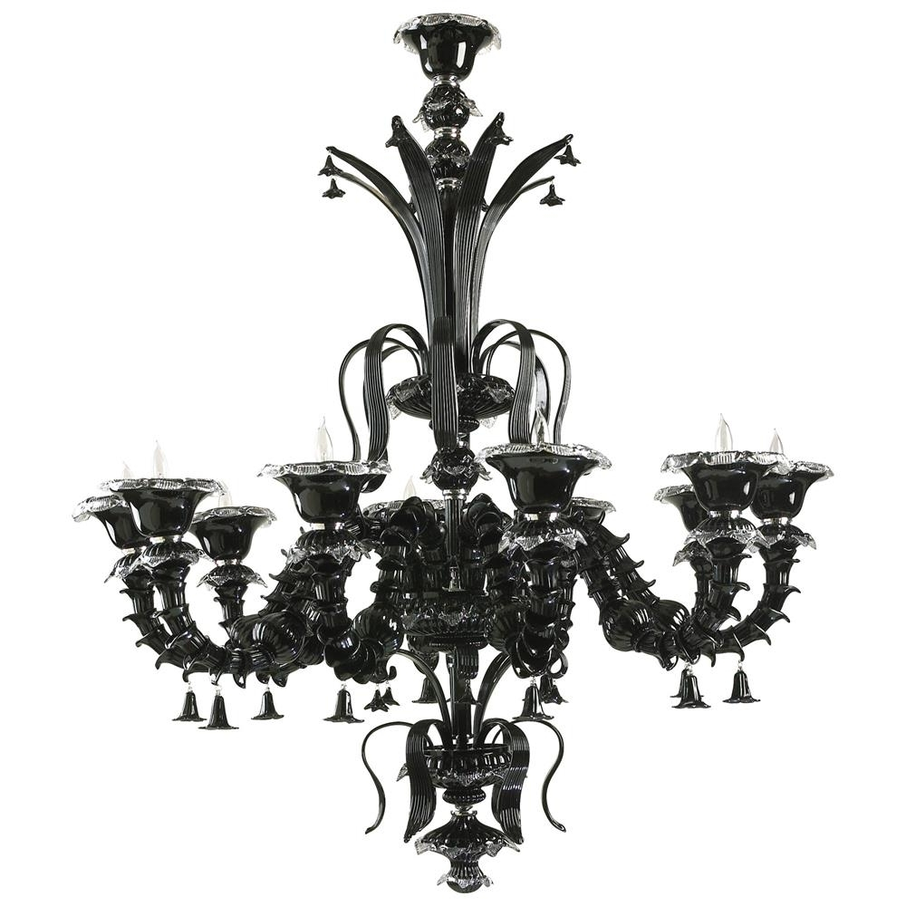 Well Known Venetian Gothic Noir Black 10 Light Murano Glass Style Chandelier In Black Gothic Chandelier (View 20 of 20)