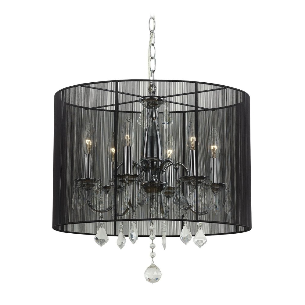 Well Liked Chandeliers With Black Shades With Regard To Lighting: Crystal Chandelier Pendant Light With Black Drum Shade And (View 5 of 20)