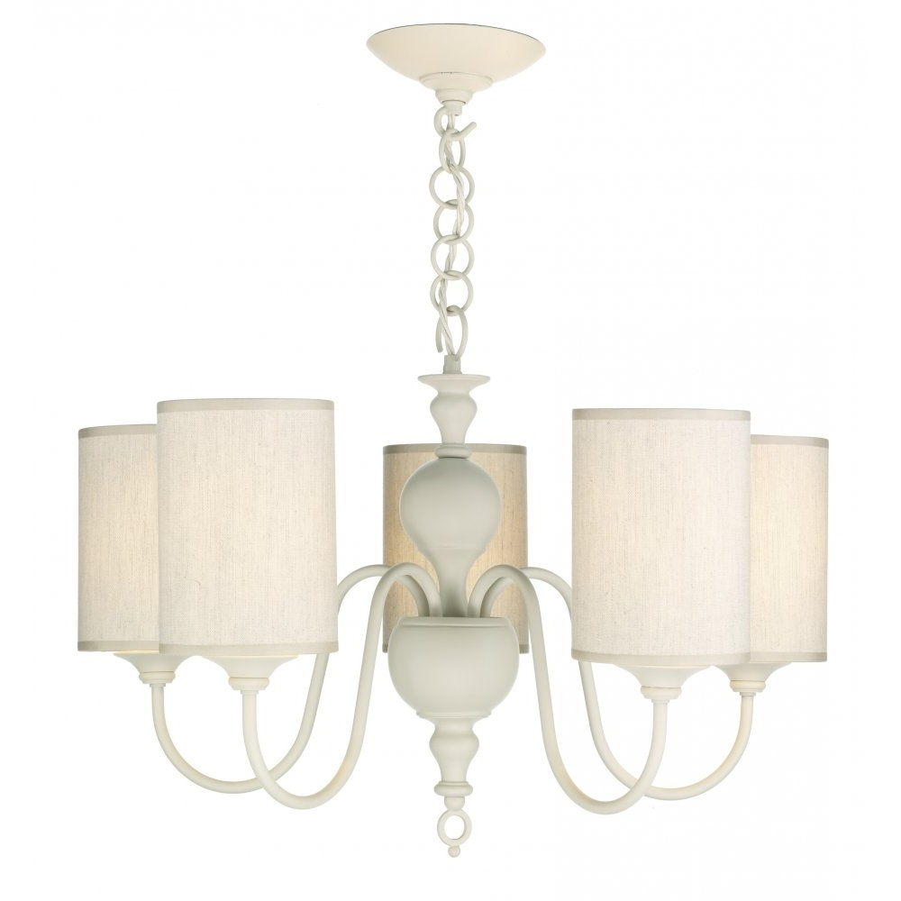 Well Liked Cream Chandelier Lights Intended For Traditional Cream Ceiling Pendant Light With 5 Fabric Shades Included (View 19 of 20)