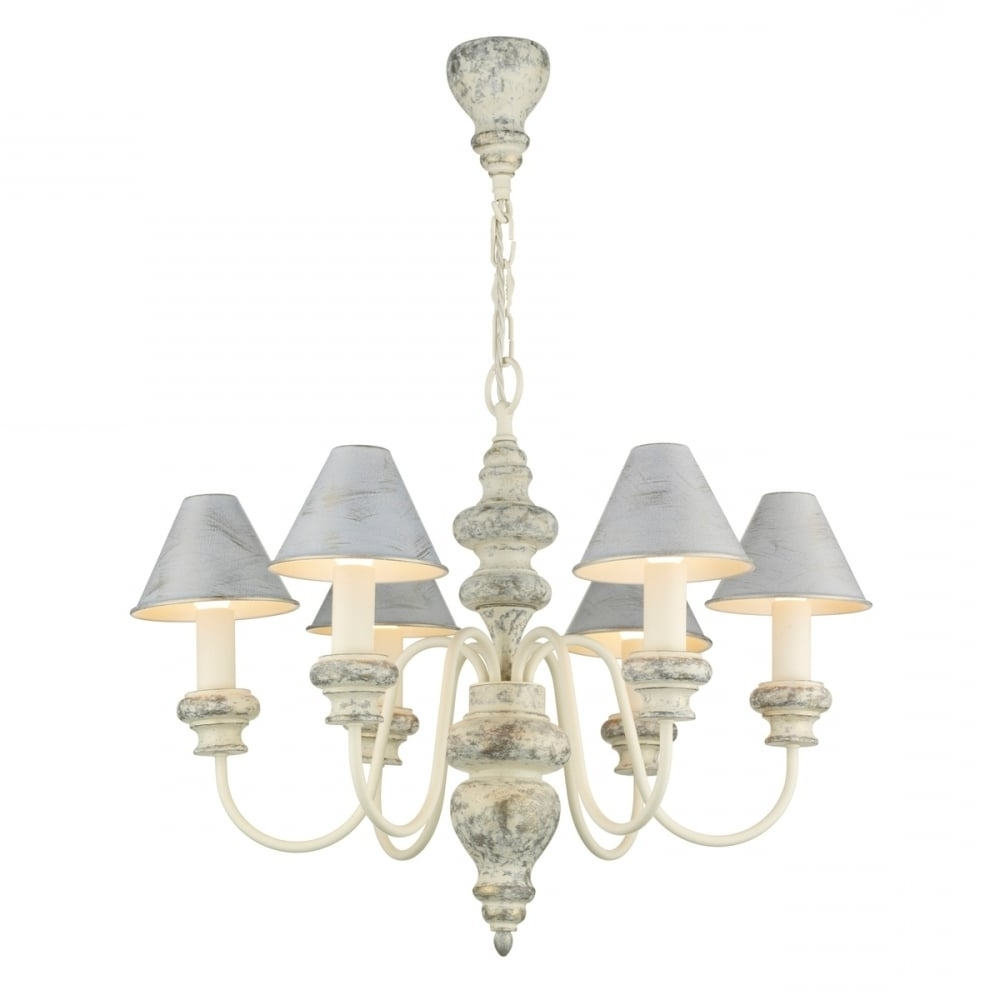 Well Liked Distressed Cream Edwardian Chandelier With Matching Candle Shades Regarding Edwardian Chandeliers (View 2 of 20)