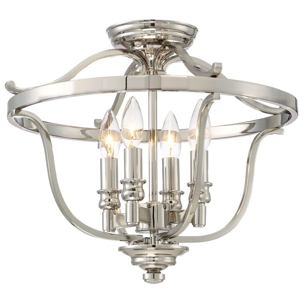 Well Liked Flush Fitting Chandelier Intended For Minka Lavery Audreys Point 4 Light Polished Nickel Semi Flush Mount (View 18 of 20)