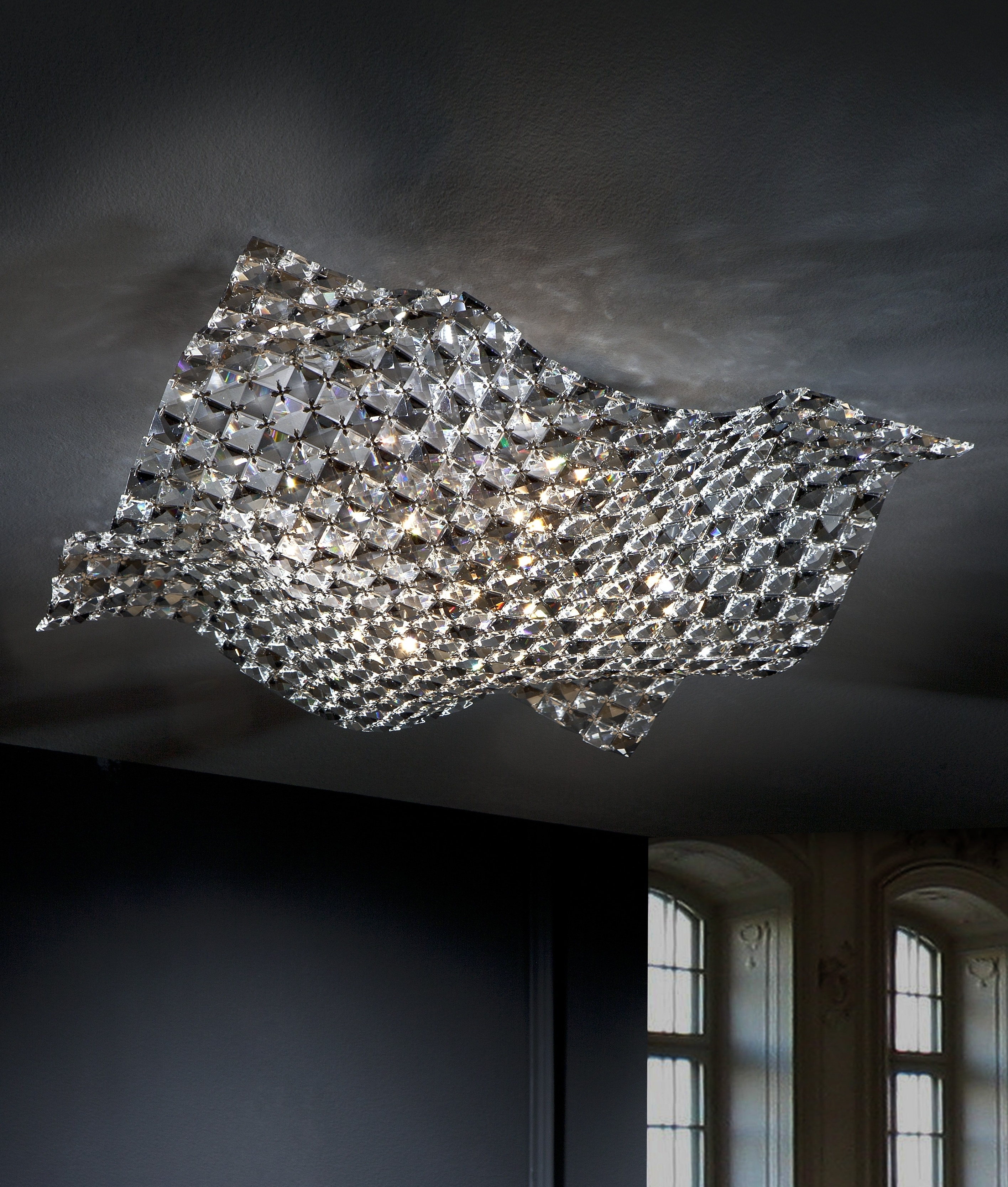 Well Liked Flush Fitting Chandelier With Regard To Semi Flush Clear And Smoked Crystal Ceiling Light (View 5 of 20)