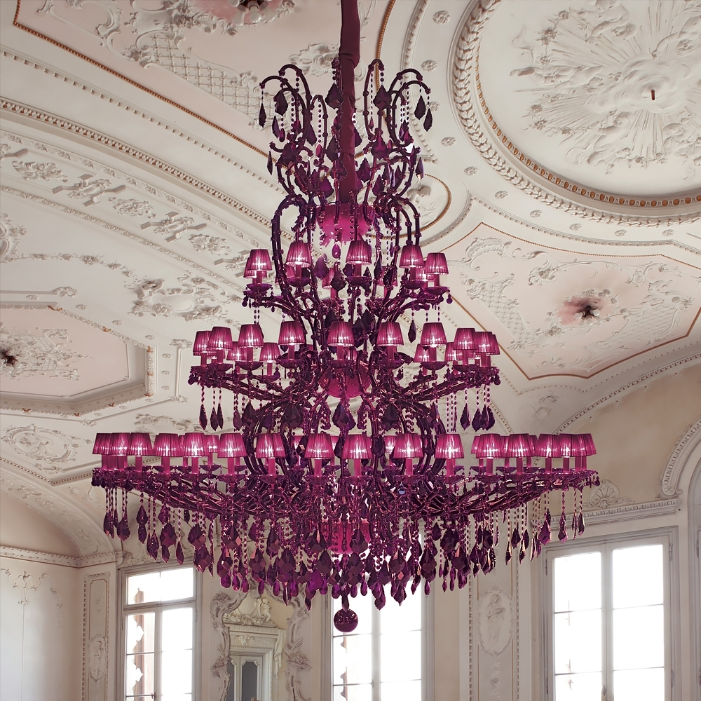 Well Liked Fuschia Chandelier In Large Fuchsia Pink Glass Chandelier (View 16 of 20)