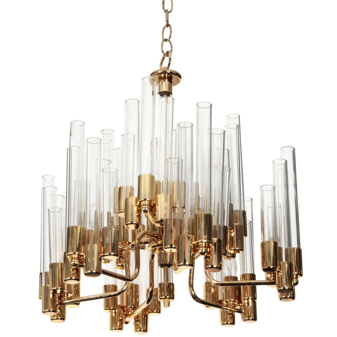 Well Liked Interior: Simple Glass Tube Chandelier With Golden Frame Ornaments For Simple Glass Chandelier (View 19 of 20)