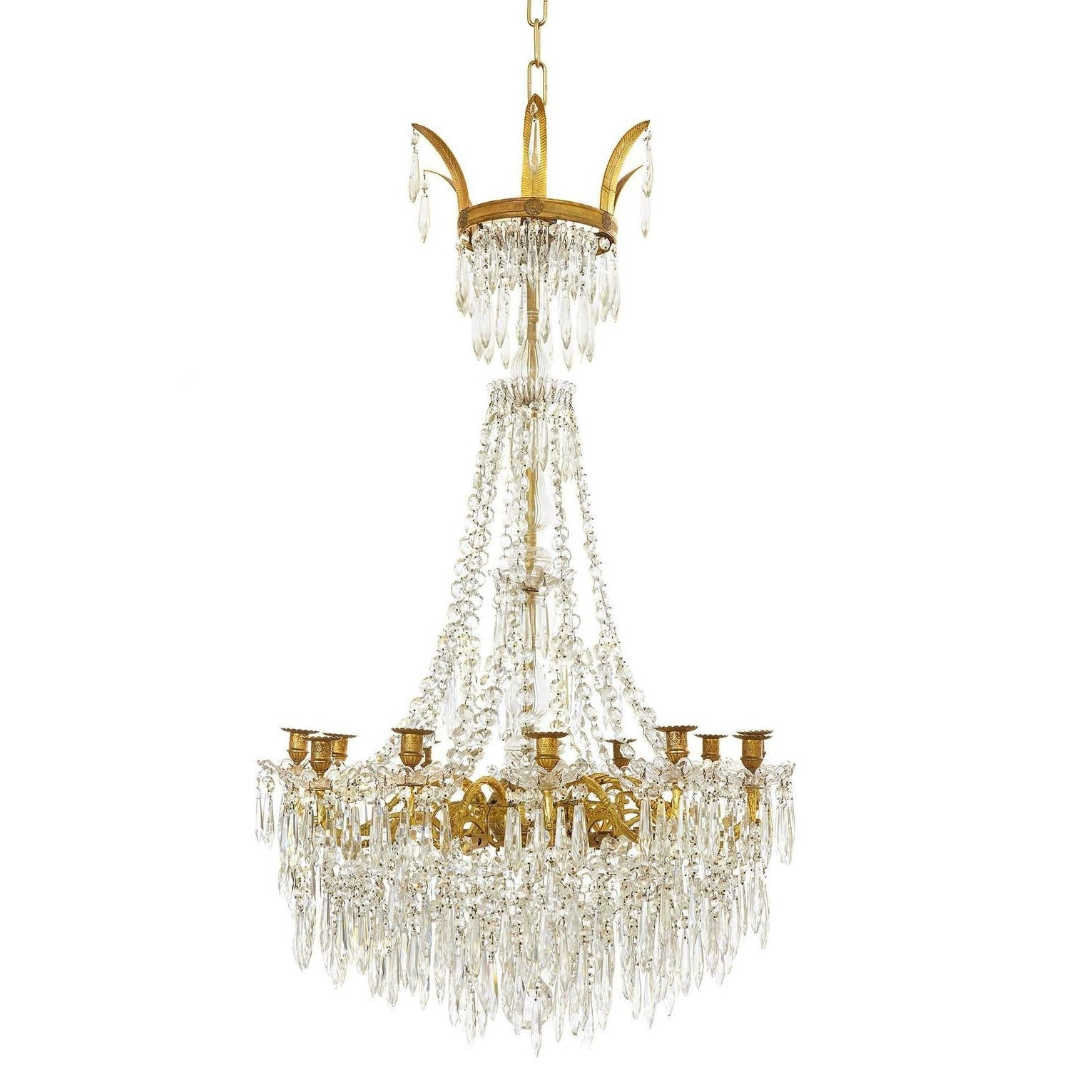 Well Liked Large Gilt Bronze And Crystal Antique French Chandelier In The With Regard To French Chandelier (View 6 of 20)