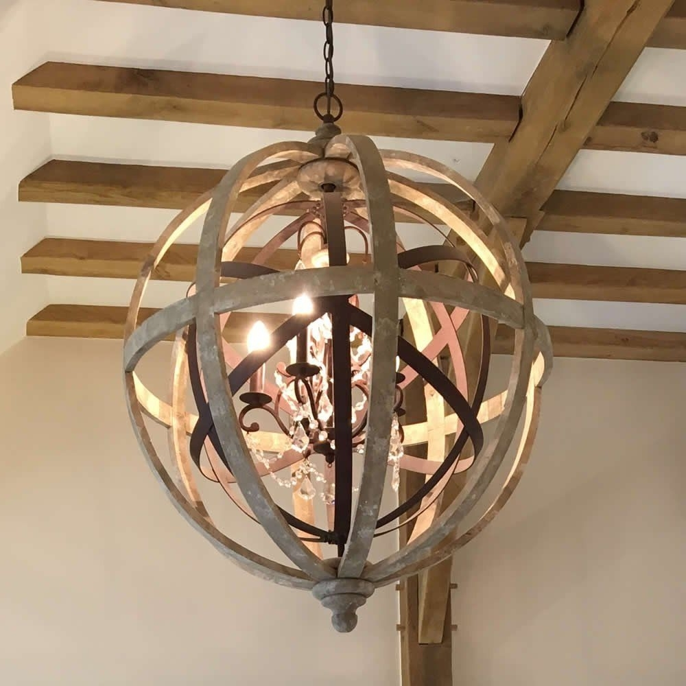 Well Liked Large Round Wooden Orb Chandelier With Metal Detail And Crystal For Chandeliers