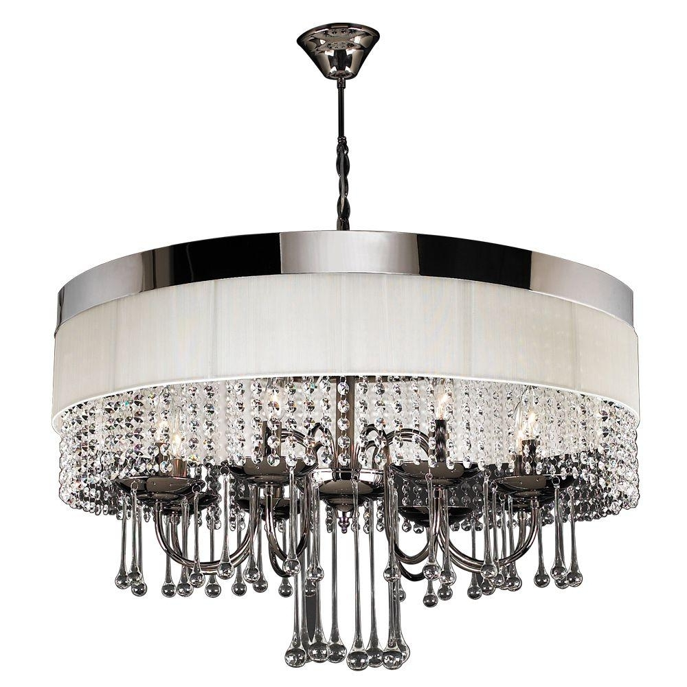 Well Liked Linen Chandeliers Pertaining To Plc Lighting 8 Light Black Chrome Chandelier With Off White Linen (View 10 of 20)