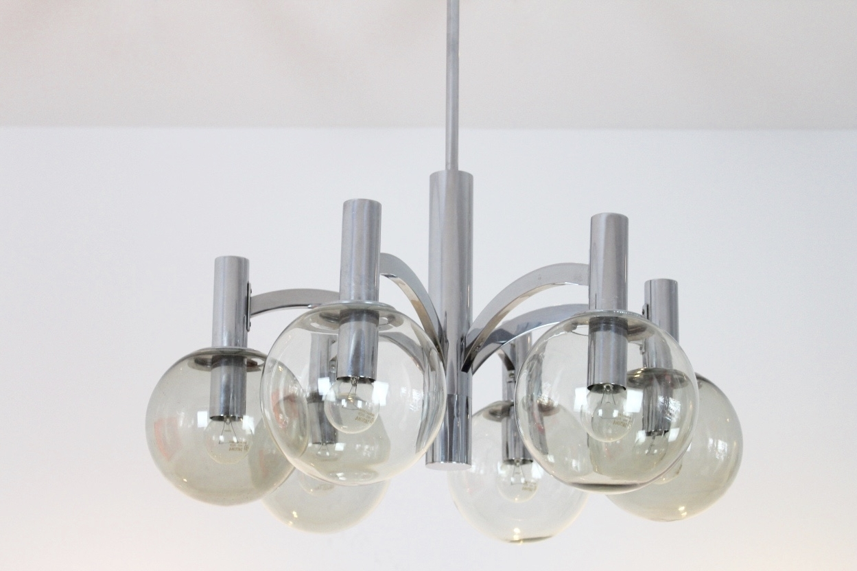 Well Liked Vintage Chrome And Glass Chandelier From Kaiser Leuchten For Sale At In Chrome And Glass Chandelier (View 10 of 20)