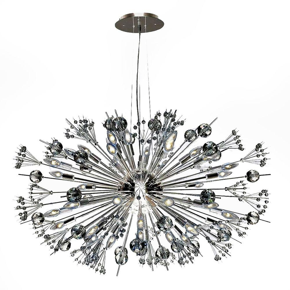 Well Liked Worldwide Lighting Starburst 24 Light Polished Chrome Crystal Inside Chrome Sputnik Chandeliers (View 20 of 20)