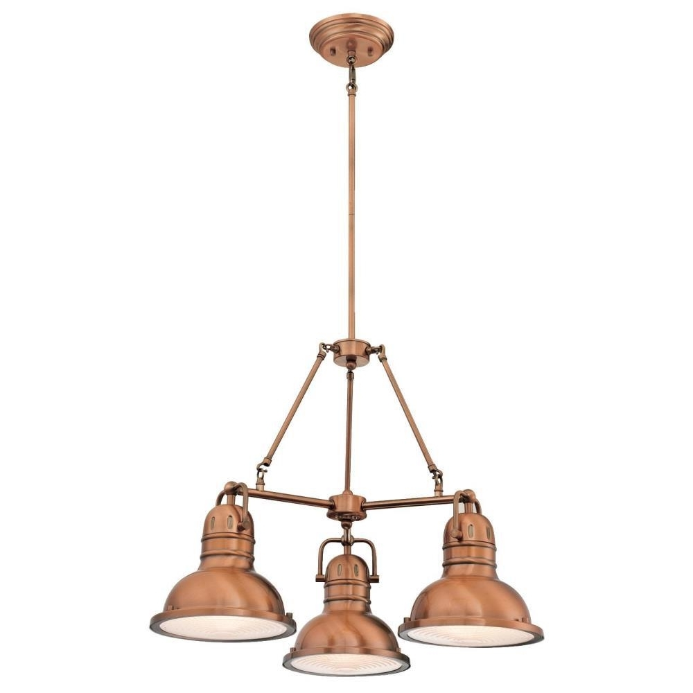 Westinghouse Boswell 3 Light Washed Copper Chandelier With Prismatic Within Well Known Copper Chandelier (View 9 of 20)