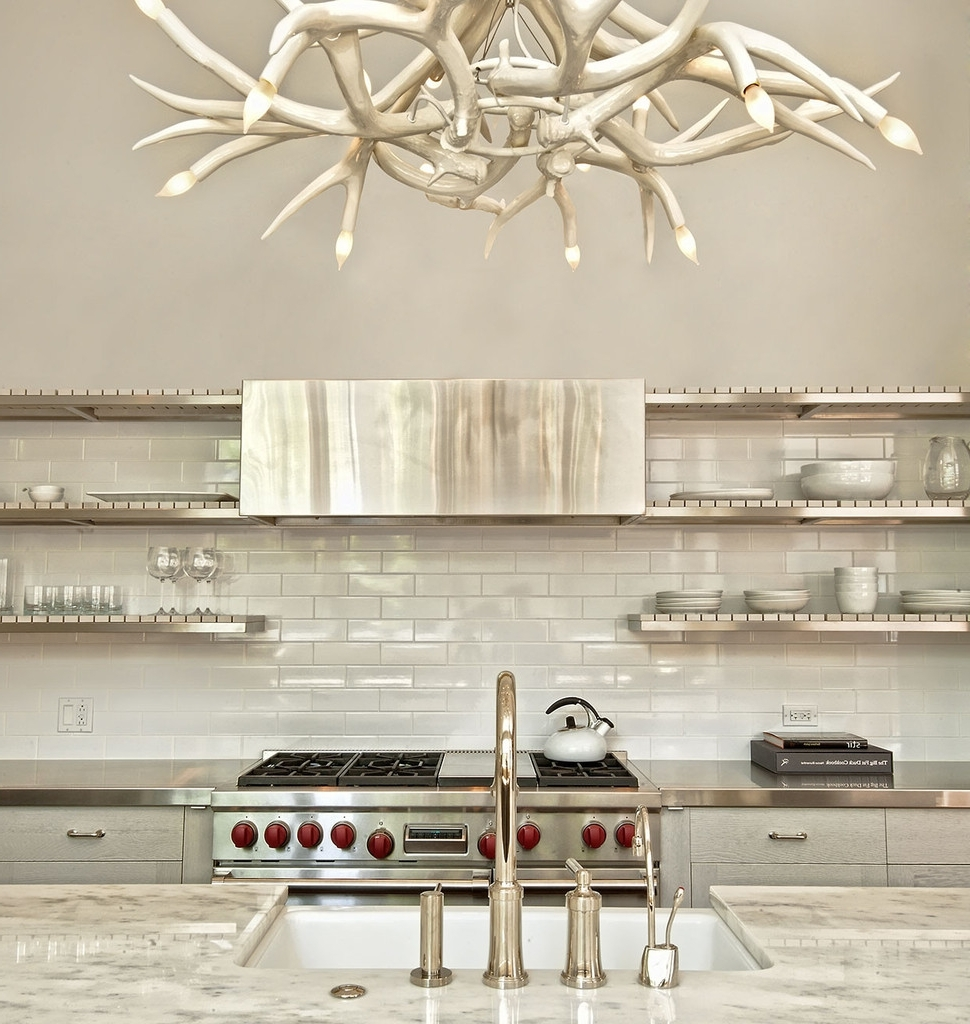 White Antler Chandelier Displaying Unique And Rustic Details In Your With Most Recent Modern Antler Chandelier (View 13 of 20)