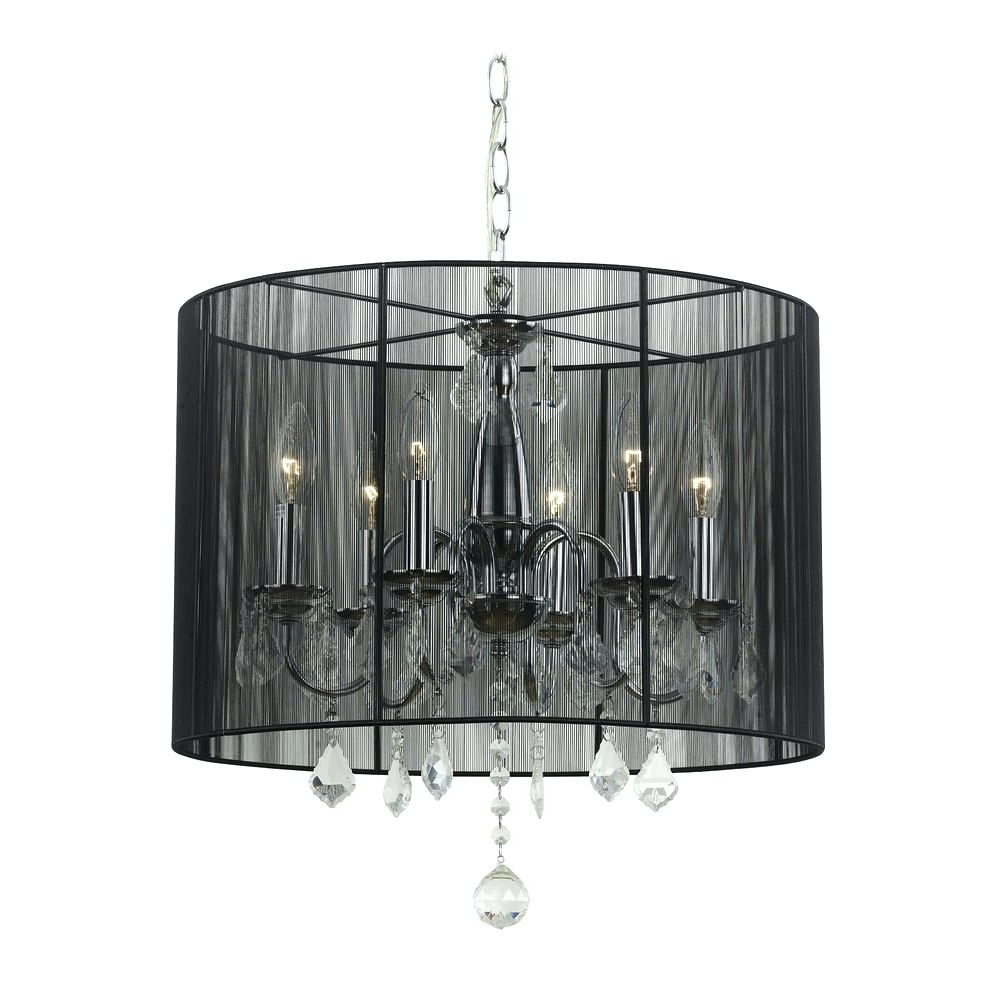 Widely Used Black Chandeliers With Shades Within Crystal Chandelier With Drum Shade (View 20 of 20)