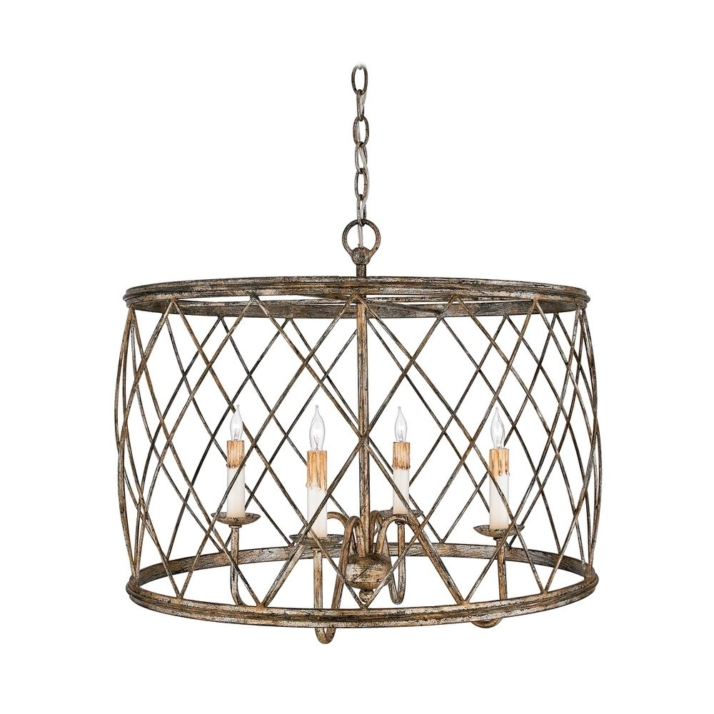 Widely Used Cage Chandeliers With Drum Pendant Light With Silver Cage Shade Century Silver Leaf Finish (View 17 of 20)