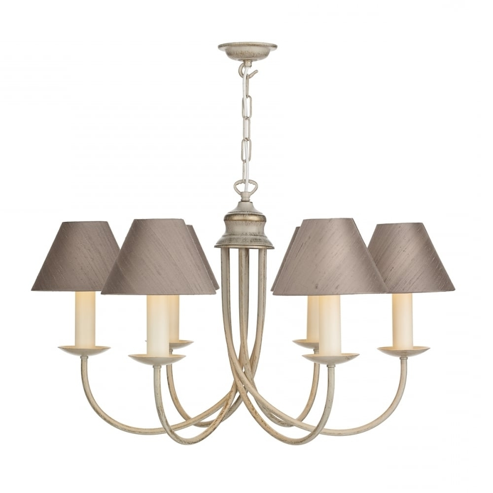 Widely Used Cream Chandelier For Traditional Long Drop 5 Light Creamy Gold Chandelier With Silk Shades (View 9 of 20)