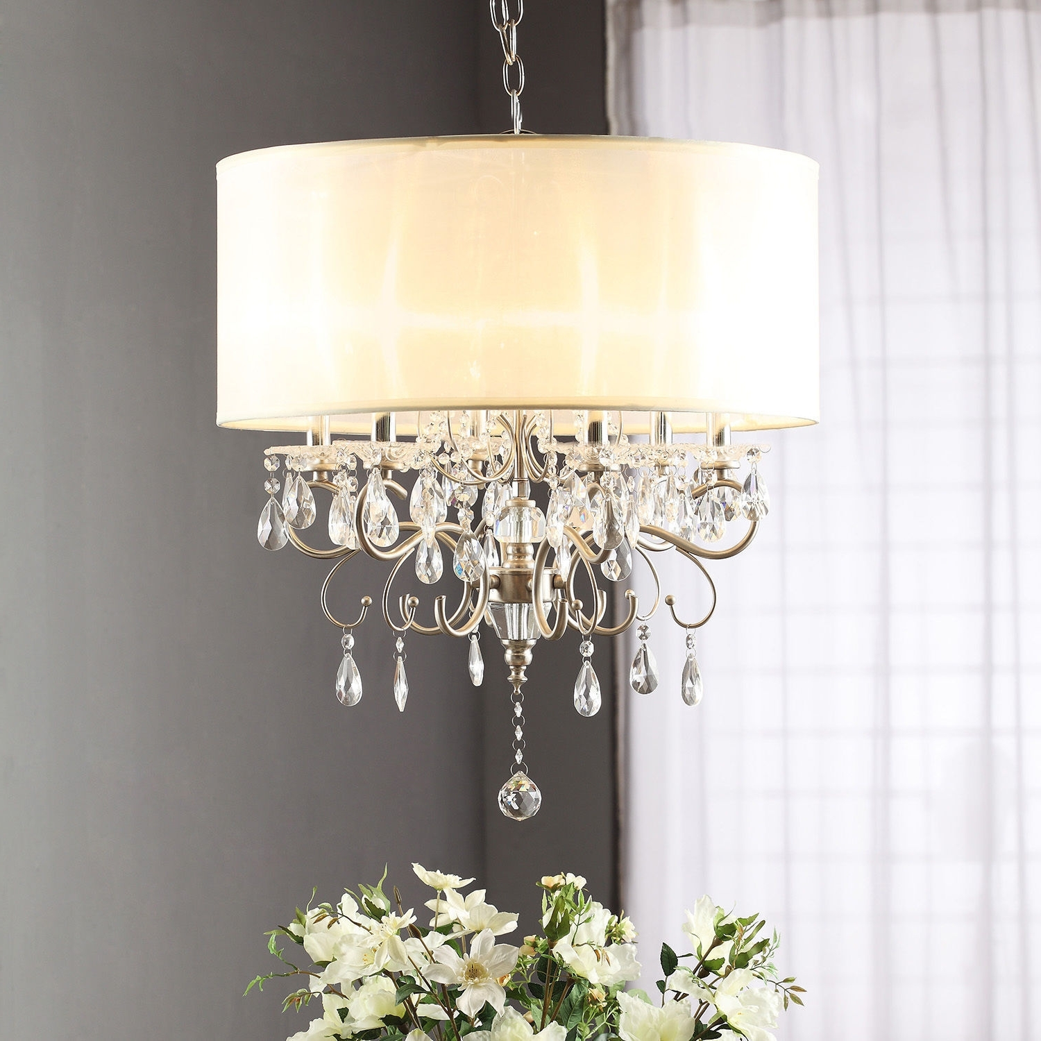 Widely Used Cream Chandelier Lights Within Drum Shade Chandelier With Crystals Brizzo Lighting Brass (View 20 of 20)
