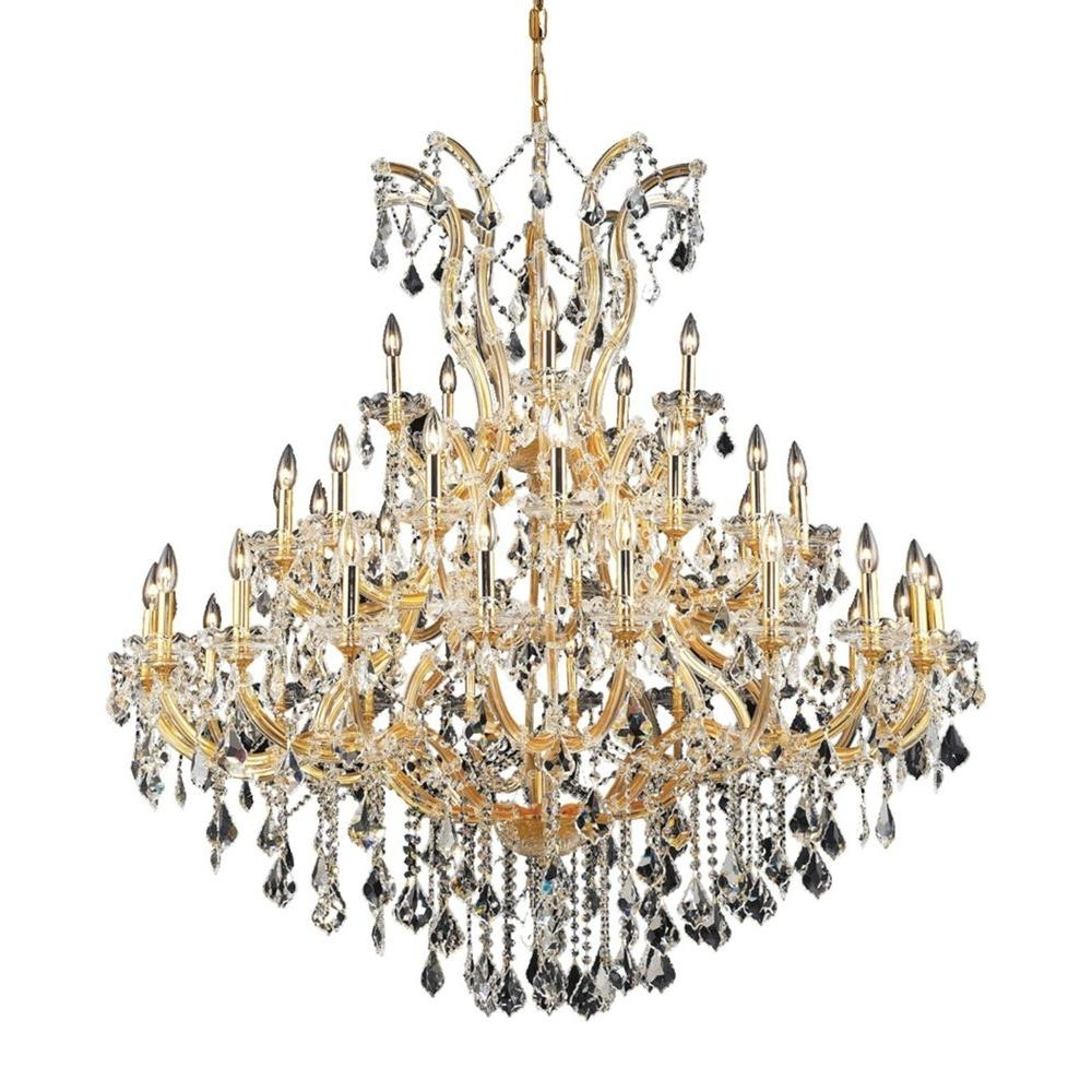 Widely Used Elegant Lighting 41 Light Gold Chandelier With Clear Crystal Regarding Crystal Gold Chandeliers (View 5 of 20)