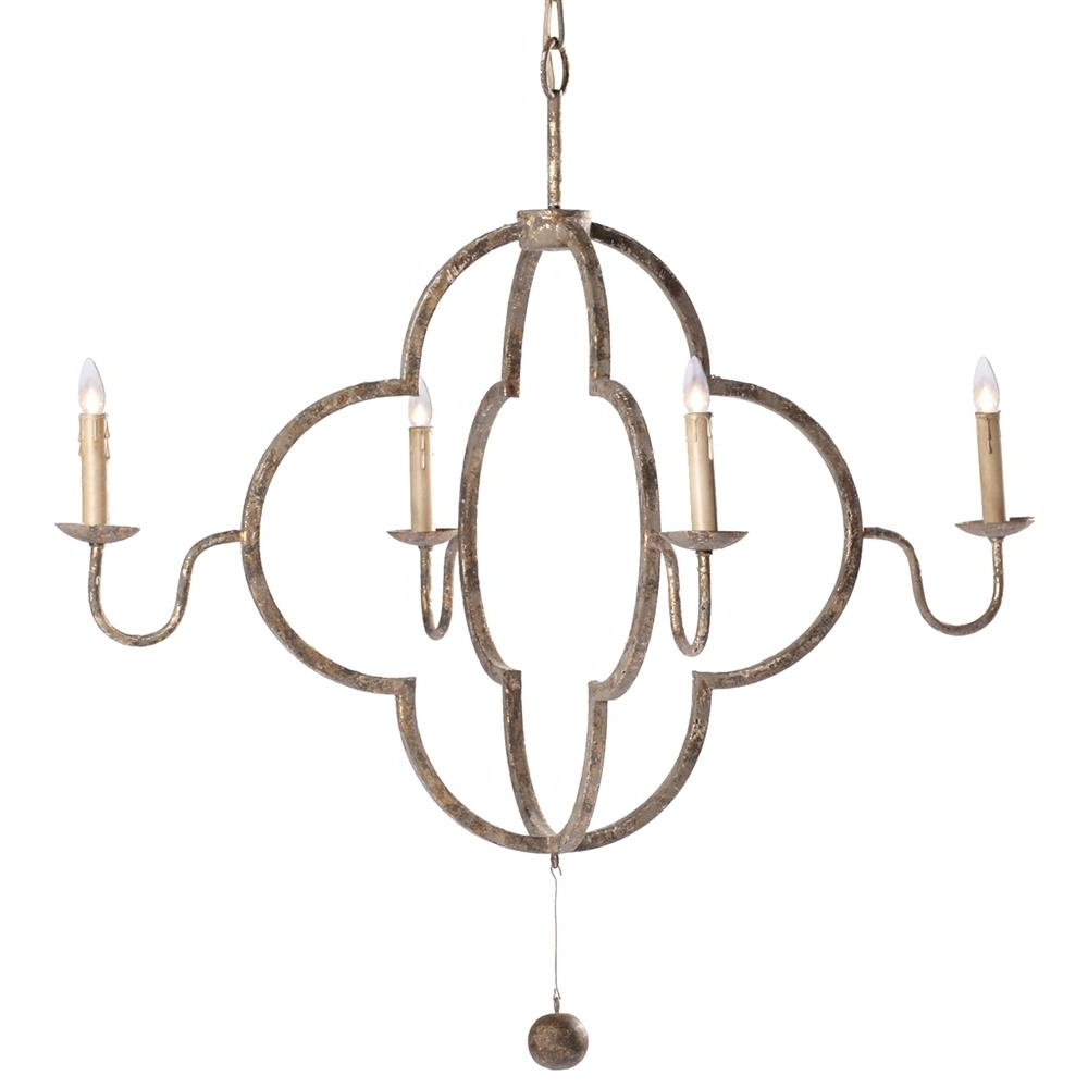 Widely Used French Gold Chandelier For Lewis Quatrefoil French Country Chipped Gold Chandelier (View 19 of 20)