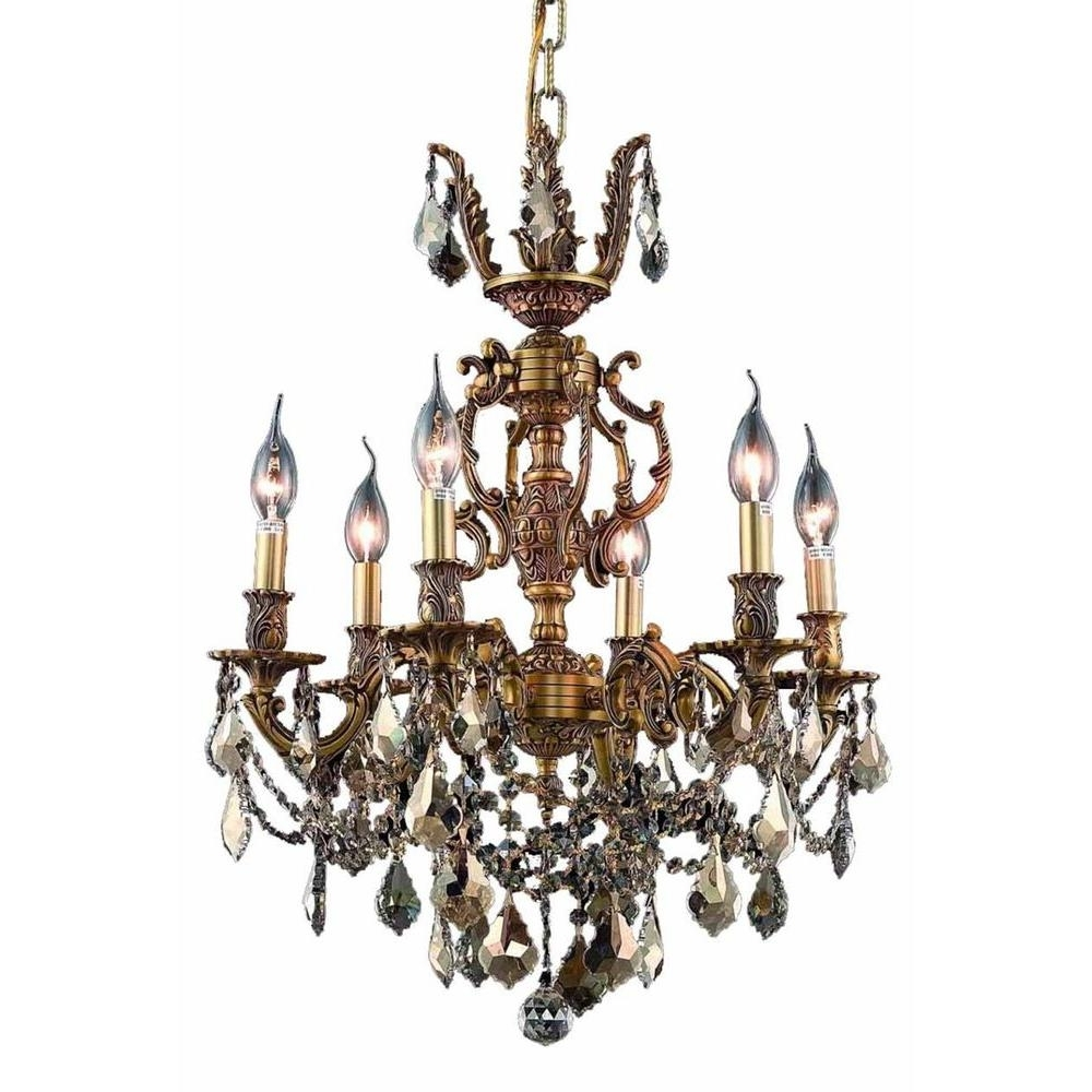 Widely Used French Gold Chandelier Pertaining To Elegant Lighting 6 Light French Gold Chandelier With Golden Teak (View 20 of 20)