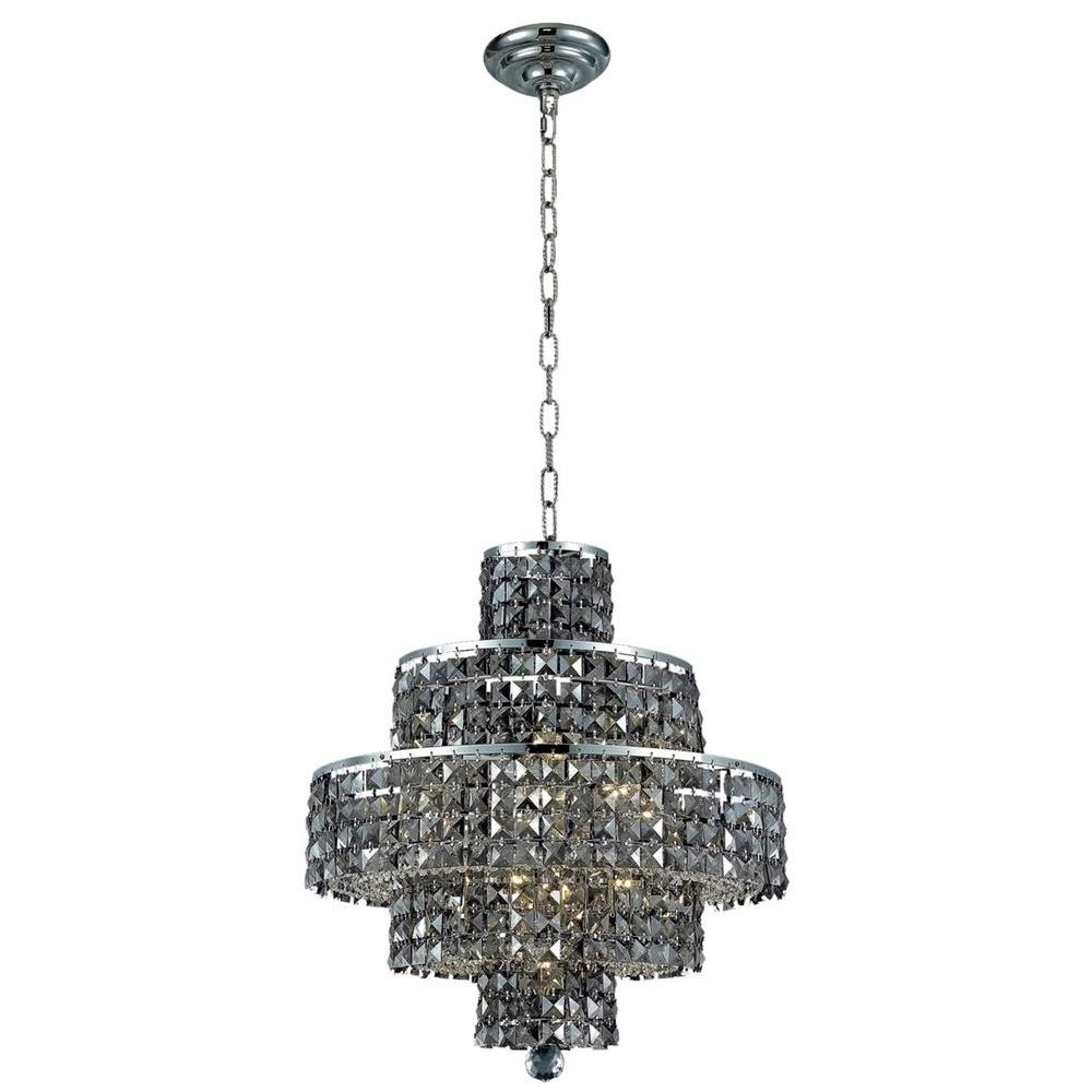 Widely Used Grey Crystal Chandelier Throughout Elegant Lighting 13 Light Chrome Chandelier With Silver Shade Grey (View 5 of 20)