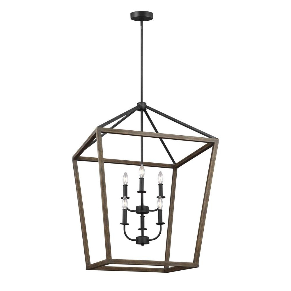 Widely Used Iron Chandelier Throughout Feiss Gannet 6 Light Weathered Oak Wood And Antique Forged Iron (View 20 of 20)